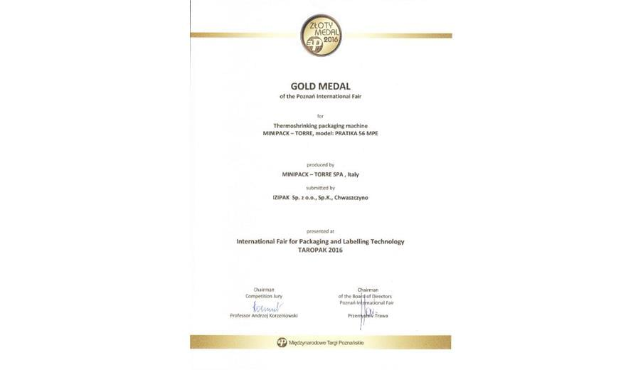Gold Medal of Poznan International Fair  certificate  gallery