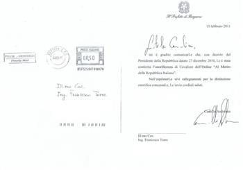 Lettera di conferimento onorificenza